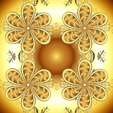 Christmas, snowflake, new year. Seamless vintage pattern on brown and yellow colors with golden elements. Golden seamless pattern on brown and yellow colors with golden elements.