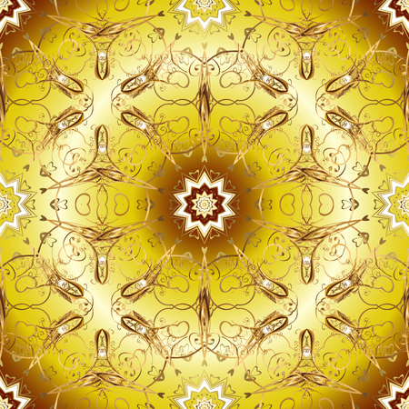 Winter snow texture sketch. Symbol holiday, New Year celebration vector golden pattern. Christmas golden snowflake seamless pattern. Golden snowflakes on yellow and beige colors.