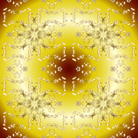Yellow and beige and golden pattern. Seamless abstract background with repeating elements. Elegant vector classic pattern.