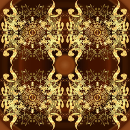 Floral pattern. Sketch baroque, damask. Stylish graphic pattern. Seamless vector background. Golden elements on yellow and brown colors.