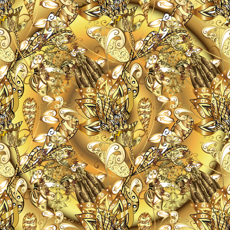 Golden elements on yellow and brown colors. Seamless oriental ornament in the style of baroque. Traditional classic vector golden seamless pattern.