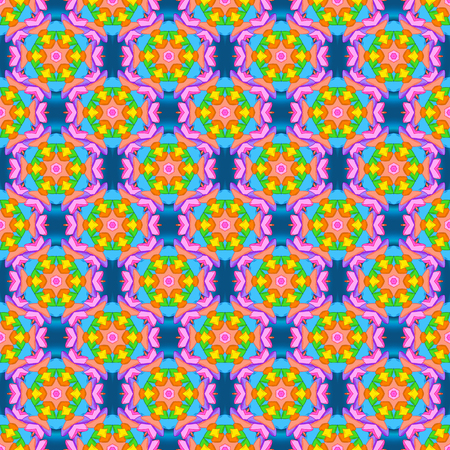 Vector. Stylish fabric pattern. Vintage. Seamless Doodles orange, blue and pink on colors.