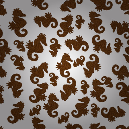 Repeated texture with cartoon characters. Illustration on white, gray and brown colors. Perfect Feminine Pattern. Hand-drawn illustration. Vector. Seamless with underwater animals: seahorse.