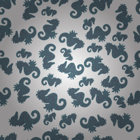 Seahorse isolated on gray, white and blue background. Illustration. Picture. Clip Art. Suitable for fabric, paper, packaging. Vector illustration. In simple style. Watercolor. Drawn by hand.
