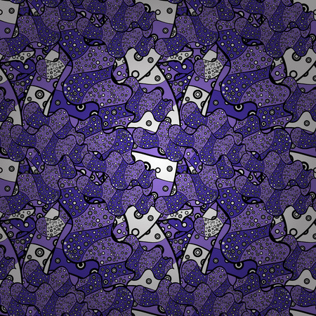 Seamless Beautiful fabric pattern. Nice background. Violet, white and black on colors. Vector - stock. Doodles cute pattern.