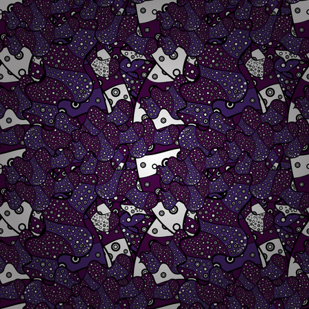 Black, violet and purple on colors. Vector. Tender fabric pattern. Seamless Abstract Retro Background Design. Pattern.