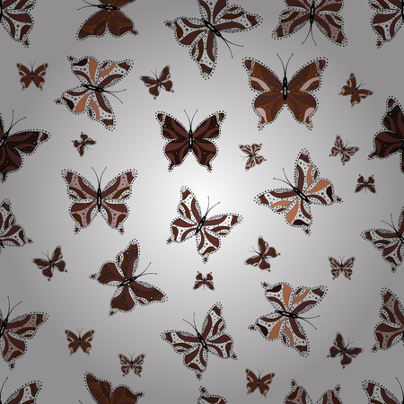 Cute trend butterflies. Vector traditional folk nice decor on white, brown and black background for clothing design.