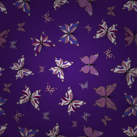 Repeating insect fabric artwork for sketch. Pretty seamless butterfly cloth texture with blotter on black, white and violet. Vector illustration. Spring butterfly cute theme.