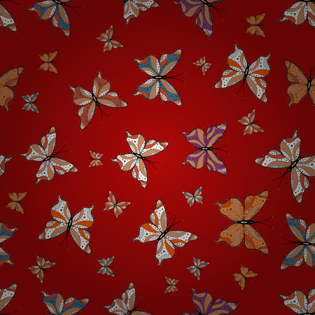 Seamless. Superb background for design of fabric, paper, wrappers and sketch. Vector. Butterfly pattern orange, red and whites.