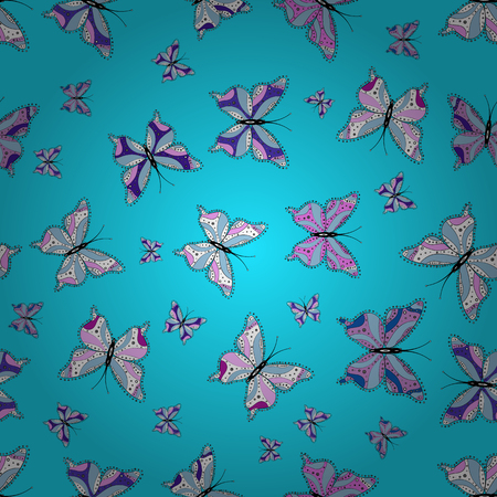 Fashion nice fabric design. Abstract seamless background. Illustration on white, blue and pink colors. Vector butterflies pattern.