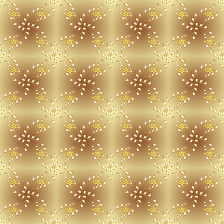Traditional classic vector golden seamless pattern. Golden elements on neutral and beige colors. Seamless oriental ornament in the style of baroque.