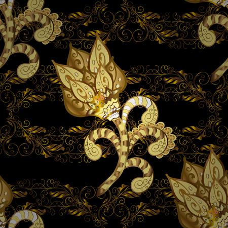 Luxury furniture. Carving. Furniture in classic style. Black, brown and yellow tree with gold trim. Patina. Seamless element woodcarving. Pattern on black, brown and yellow colors with golden elements