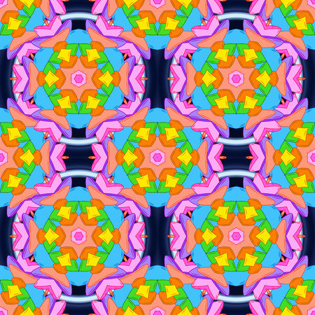 Orange, blue and pink on colors. Tender fabric pattern. Vector. Seamless Abstract Retro Background Design. Pattern.