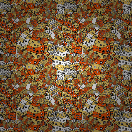 Design. Vector. Nice fabric pattern. Doodles black, yellow and orange on colors. Flat elements. Print.