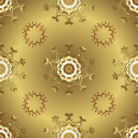 Patina. Pattern on yellow colors with golden elements. Furniture in classic style. Carving. Luxury furniture. Small depth of field. Seamless element woodcarving. Yellow backdrop with gold trim.