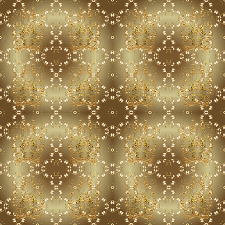 Golden pattern on brown and beige colors with golden elements. Vector oriental ornament. Seamless golden pattern.
