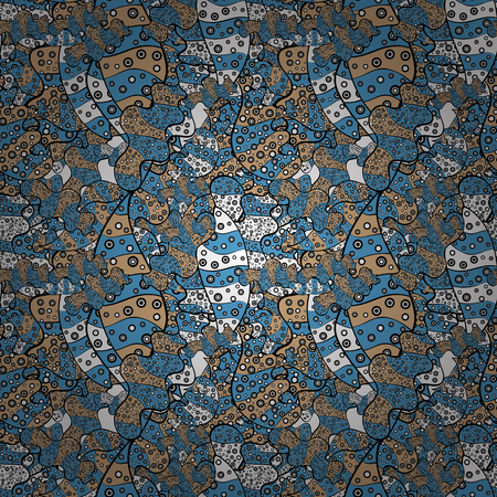 Doodles beige, black and blue on colors. Seamless Elegant vector texture with floral elements.