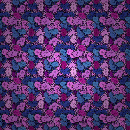 Pattern. Vector. Tender fabric pattern. Pink, black and blue on colors. Seamless Abstract Retro Background Design. Banco de Imagens - 117070501