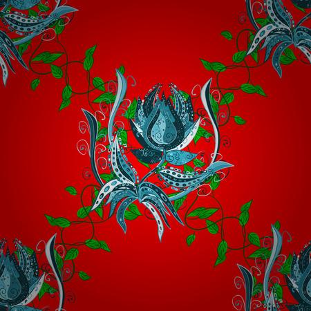 Nahtloses Muster mit roten, blauen und grünen Blumen. Nahtloser Hintergrund des Blumenaquarells. Vektortextildruck für Bettwäsche, Jacken, Verpackungsdesign, Stoff- und Modekonzepte.