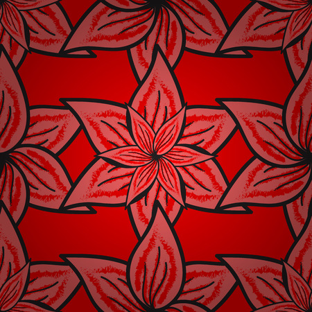 Seamless pattern with many small red, pink and gray flowers. Seamless floral pattern. Vector abstract floral background.