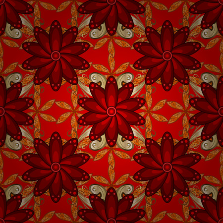Boho abstract seamless pattern. Colorful colored tile mandala on a red, brown and orange colors. Intricate floral design element for sketch, fabric, furniture. Unusual vector ornament decoration.