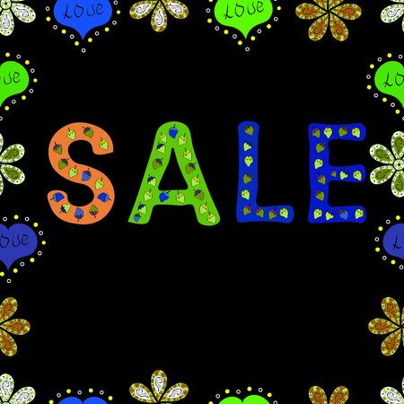 Seamless. Sale banner template design, Mega sale special offer. Lettering. Vector illustration. Illustration on black, green and blue colors. End of season special offer banner.