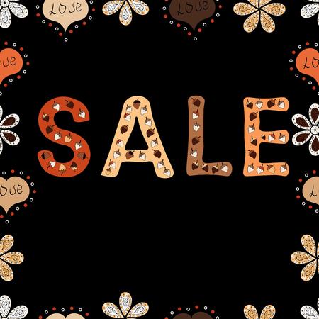 Vector. Autumn sale banner design, special offer for online shopping. Lettering. Seamless pattern. Illustration in orange, black and beige colors.