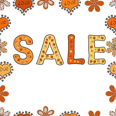 Shop market poster design. Vector illustration. Picture in black, white and orange colors. Seamless pattern. Sale offer, banner template. Lettering.