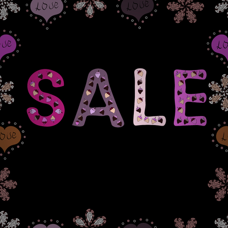 Illustration in pink, black and neutral colors. SALE Promotion banner, price tag, discount sticker, badge, poster. Seamless. VIP SALE starts today promo banner with lettering word SALE. Vector.