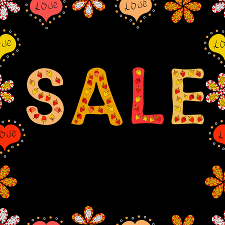 Sale banner. Vector lettering. Picture in yellow, black and red colors. Seamless.