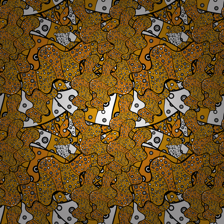 Design. Vector. Print. Doodles black, yellow and orange on colors. Nice fabric pattern. Flat elements. Illustration