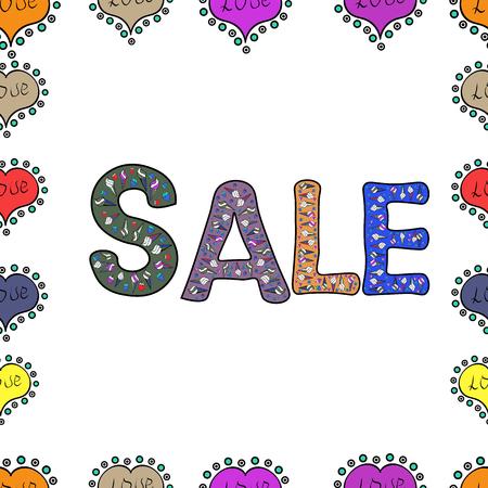 Vector. Seamless. Shop market poster design. Sale offer, banner template. Lettering. Illustration in black, white and violet colors. Иллюстрация