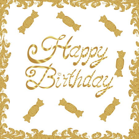 Illustration in yellow and white colors. Bright background with different elements for the design of banners, posters. Decorative pennants frame. Seamless. HAPPY BIRTHDAY. Vector.
