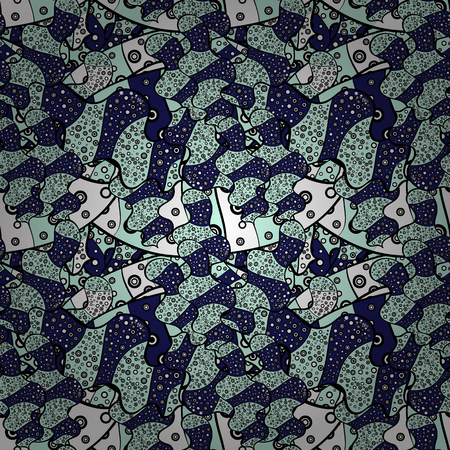 Vector. Print. Doodles neutral, blue and black on colors. Fashionable fabric pattern.