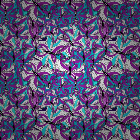 Print. Vector. Fashionable fabric pattern. Design wrapping and gift paper, greeting cards, banner and posters design. Doodles white, violet and blue on colors.
