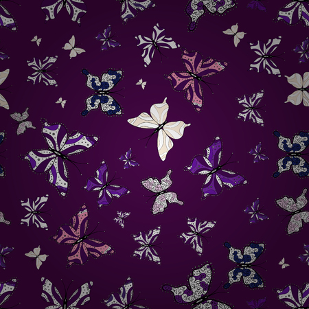 Butterfly floral pattern on tropical theme. Vector sketch. Perfect for textile, sketchs, web page backgrounds, surface textures. Cute butterfly seamless pattern in white, purple and black colors.