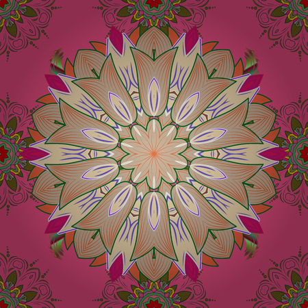 Millefleurs. Floral sweet seamless background for textile, fabric, covers, sketchs, print, wrap, quilting, decoupage. Pretty vintage feedsack pattern in small pink, beige and green, flowers.