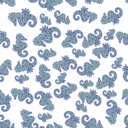 Seahorse isolated on blue, white and neutral background. Picture. Clip Art. Illustration. In simple style. Cute girly seamless pattern drawn by hand. Suitable for fabric, packaging. Vector. Watercolor Stock Illustratie