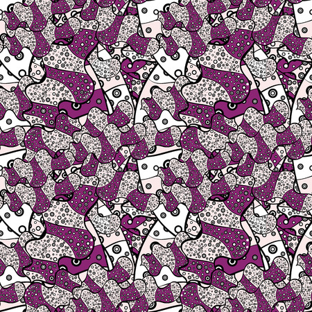 Doodles neutral, purple and black on colors. Seamless Sketch nice background. Abstract pattern for wrapping paper Vector illustration.