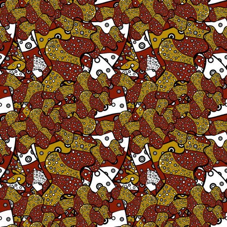 Tribal art print, vintage background. Abstract ethnic vector seamless pattern. Background texture, sketch, theme in black, yellow and brown colors.