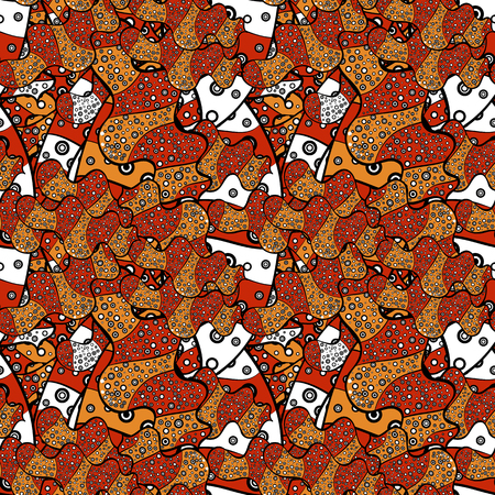 Illustration. Vector texture. Seamless pattern Beautiful fabric background. Doodles on a orange, black and red colors. Ilustração