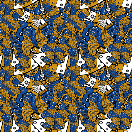 Blue, black and yellow on colors. Tender fabric pattern. Vector. Seamless Abstract interesting background. Doodles pattern.