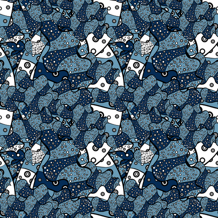 Illustration. Seamless pattern Beautiful fabric background. Vector texture. Doodles on a blue, black and white colors.