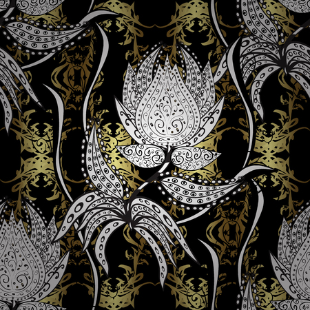 Seamless oriental ornament in the style of baroque. Traditional classic golden vector pattern on black, white and gray colors with golden elements.