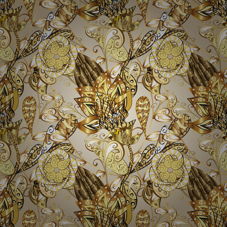 Vector traditional classic golden seamless pattern on beige and yellow colors. Seamless oriental ornament in the style of baroque.