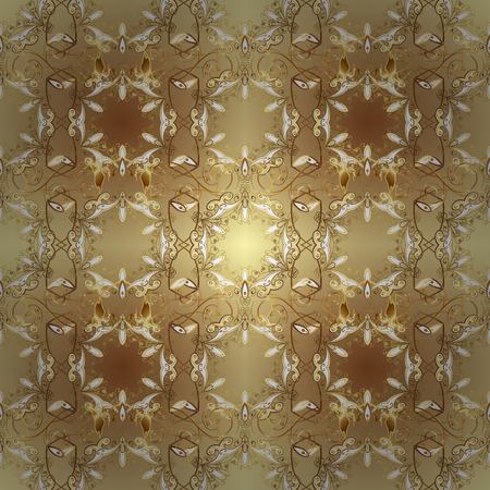 Ornate decoration. Golden pattern on a neutral and beige colors with golden elements. Luxury, royal and Victorian concept. Vector vintage baroque floral seamless pattern in gold.