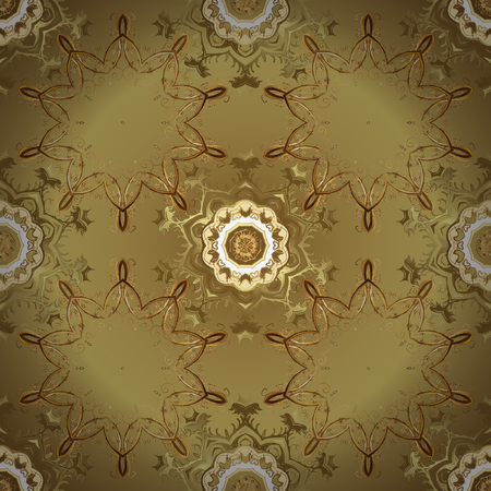 Vector seamless pattern on yellow and neutral colors with golden elements. Damask seamless pattern for design. Иллюстрация