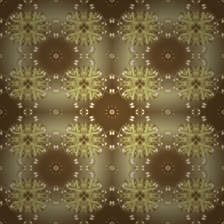 Vector golden floral ornament brocade textile and glass pattern. Gold metal with floral pattern. Brown and neutral colors with golden elements. Seamless golden pattern.