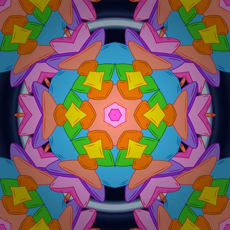 Seamless Elegant vector texture with floral elements. Doodles orange, blue and pink on colors. Ilustração