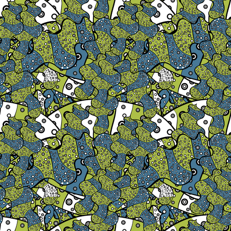Seamless Beautiful fabric pattern. Vector. Doodles green, blue and black on colors. Ilustração